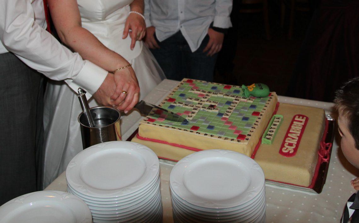 Hochzeitstorte Scrabble