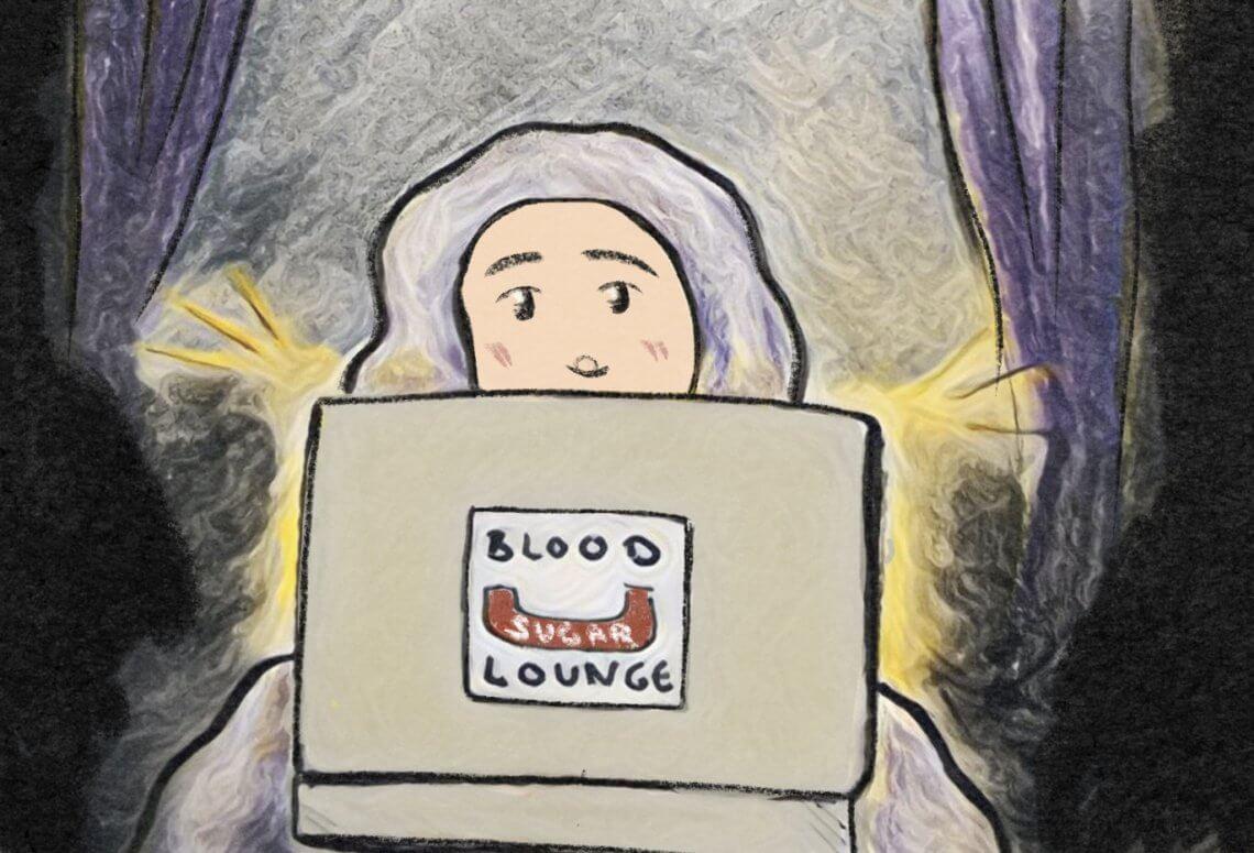 Blood Sugar Lounge - Huda am Laptop