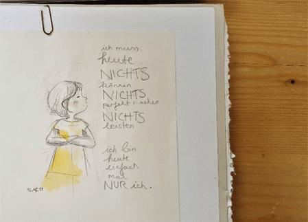 Zeichnung: Ich muss heute nichts!